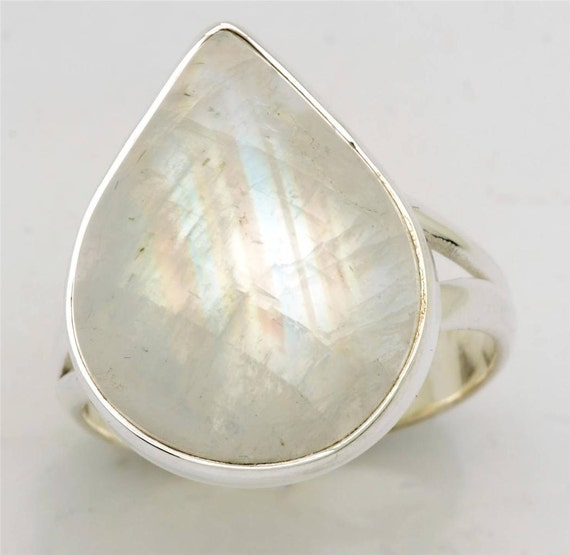White Moon Stone Ring Solid 925 Sterling Silver Jewelry Size