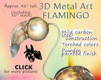 Flamingo Metal Art, Yard Art Flamingo, Gardening Art Flamingo by Brown-Donkey Designs