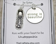 Track and Field Necklace - TF2 - Cleats Shoes Charm, Marathon Necklace, Running Shoes Charm, Jogging,Running Necklace- Marathon Necklace