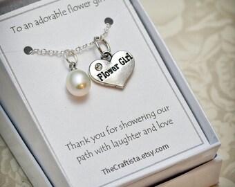 Flower Girl Necklace - FGA - Flower Girl Pearl Necklace -- Flower Girl Gift -- Pearl Necklace -- Authentic Freshwater Pearl Pendant