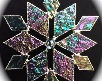 stained glass snowflake suncatcher (design 3)