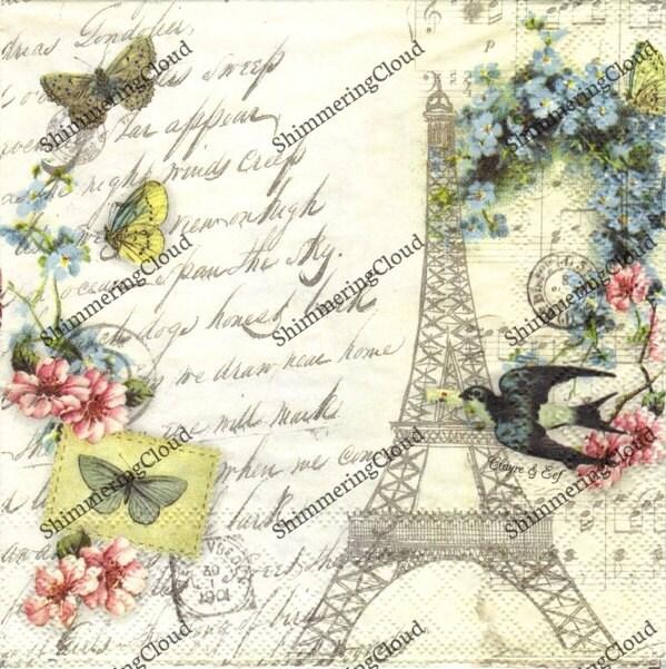 decoupage napkins paris napkins eaiffel tower birds bird cage vintage - Decorative Paper Napkins