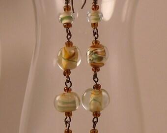 Lampwork Glass Beads Dangle Earrings Long Dangle Earrings
