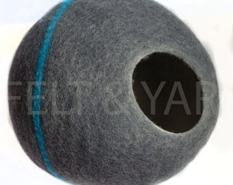 Grey Cat cave with Turquoise stripe, cat house, cat bed, felt cat bed nepal, merino cat bed, pet house