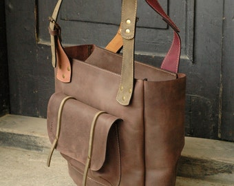 Sale ! 20 % less 174 usd now 139 USD! Brown leather Angela Bag handmade by Ladybuq