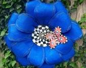 Summer Door Hanger, Spring Door Hanger, Mackenzie Childs Inspired Door Hanger, Blue Flower with Checkered Center and Butterfly Door Hanger
