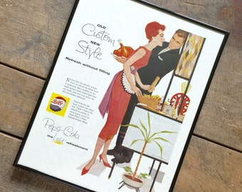 Framed Pepsi Magazine Ad Retro Advertising Wall Art Authentic Magazine Advertising 1960s Collectible Pepsi