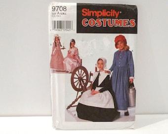 Puritan or Centennial Costume Simplicity 9708 Never Used Pattern Girls Small Medium Large Pilgrim Thanksgiving Halloween Princess Cosplay