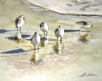 Giclee of original watercolor painting, Sandpipers 2