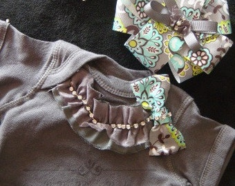 NEWBORN baby girl take home outfit bodysuit grey slate charcoal mint green turquoise rhinestone trim matching headband