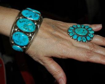 Super Large Vintage Navajo John Frank Deep Blue Gem Turquoise Carinated Stamped Silver Bracelet 1970's 123 Grams