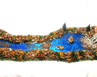 Fairy Garden River/Waterfall/Fish-OOAK-Large Fairy River-Fairy Garden Accessory