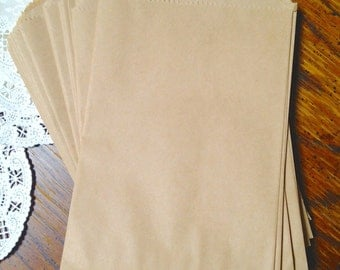 Bags  100 - Brown Kraft Flat Merchandise Bags - 6.5 x 9 Inches - Gifts and Packaging
