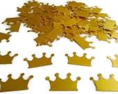 Gold Crown Confetti, Princess Prince Crown Die Cut, Princess Party Decoration, Royal Party, Paper Crown, Girls Birthday, 100 piece bag