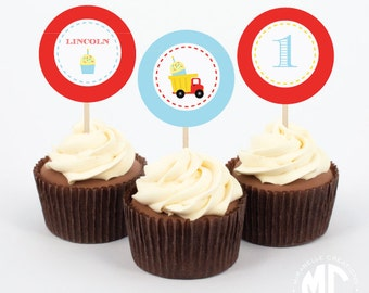 Dump Truck & Cupcakes Printable Digital Party Circles / Cupcake Toppers -- Mirabelle Creations