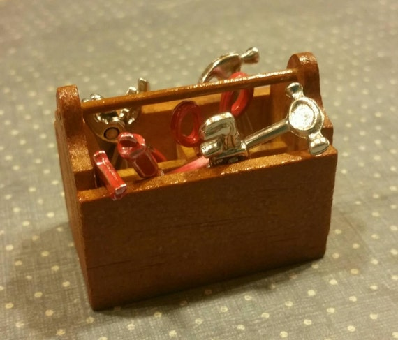 Miniature Wooden Toolbox With Eight Red Handled Tiny Tools