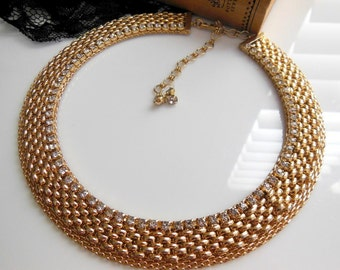 Vintage Jewels By Julio Gold Panther Chain Rhinestone Choker Collar Necklace