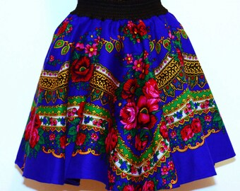 Gypsy Skirt Royal blue Gipsy Skirt Flower print Skirt Gipsy Skirt Ukraine skirt Russian skirt