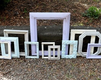 SALE Set of 11 Upcycled Frames - Lilac, Aqua Blue, Light Gray, and White - Lavender and Gray - Wall Gallery - Nursery - Wedding - Aqua Lilac