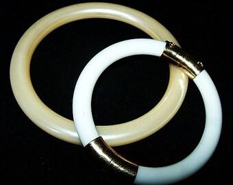 Two Bangle Bracelets White Glass & Creamy Beige Thermoset Gold Trim Summer 2015 Vintage