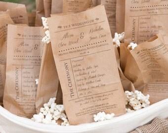 Popcorn Bag Wedding Programs:  Set of 25. Custom Kraft Paper Bag Programs. Rustic Wedding. Wedding Ceremony Decor. Confeti. Shabby Chic