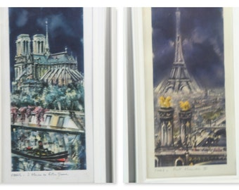 Vintage Pair Set of 2 of Paris AT NIGHT in the DARK Watercolor Framed Prints Eiffel Tower Notre Dame Siene Booksellers by Maurice Legendre