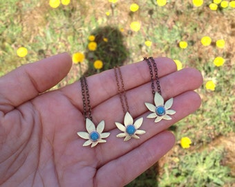 Tiny Turquoise Pot Leaf Necklace with Brass Chain