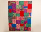 Large Lap Quilt, Modern Handmade Quilt, OOAk, Kaffe Fassett Collective, Bright and Modern Quilt, Lap Quilt, Large Baby Quilt, Lap Blanket
