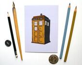 Police Box Postcard Doctor Who Postcard TARDIS Postcard Geeky Postcard Unframed Mini Print