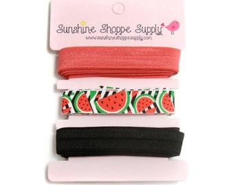 Fold Over Elastic 3 Color Bundle - Summer Watermelon