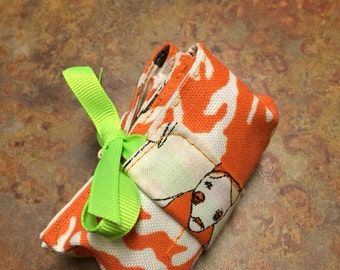 Essential oils- 3 roller bottle holder- travel pouch- orange coral and zombies