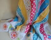 Scrappy Rag Quilt Baby Quilt Handmade Large Summer Throw