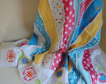 Scrappy Rag Quilt Baby Quilt Handmade Large Summer Throw