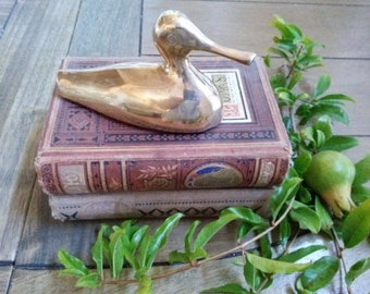 Small Vintage Brass Duck Accent Piece // Paper weight