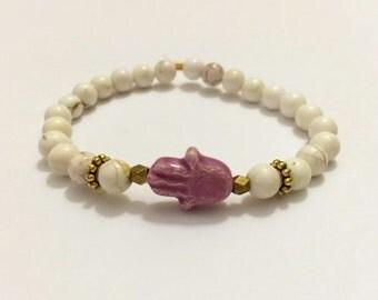 Pink Ceramic Hamsa Beaded Bracelet