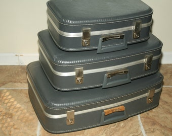 Stack of Vintage Blue 1960s Suitcases, Wedding Decor, Wedding Card Box, Photography Prop