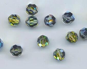 Twelve Swarovski crystals - Art. 5000 - 8 mm - rare effect color crystal sahara