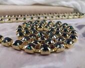 6mm --- Emerald Rhinestone Cup Chain --- Gold Base Metal --- 1 yard (36 inch)