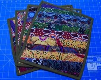 Aboriginal Place mats - Quilted Place mats -  Australian Table Place mats - Aboriginal Table Place mats -  Indigenous Place mats