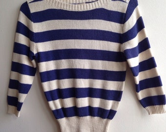 1980s striped cropped sweater (small)