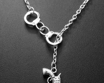Gun/Handcuff Lariat Necklace