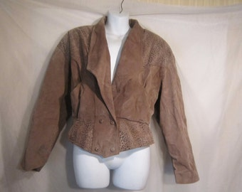 80's Chia Tan Suade Leopard Print Cropped Jacket
