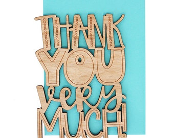 Thank You Very Much Laser Cut Wood Card