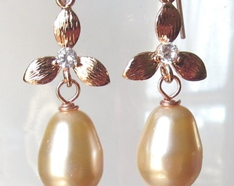 Rose Gold Flower Earrings with CZ and  Crystal Teardrop Pearls