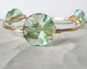 "Carved Fluorite Flower Bangle Bracelet ""Bourbon and Bowties"" Inspired"