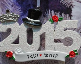 Personalized 2015 Wedding Bride Groom Christmas Ornament