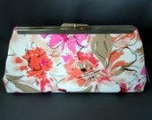 Pink Floral, Fuschia, Orange, Red, Taupe, Coral Wedding Clutch, Bridal Clutch, Mother of the Bride Clutch