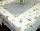 Vintage Tablecloth Mid Century Table Linen Red Blue Green Gray Yellow Floral Cottage Chic Vintage Linens TheSweetBasil
