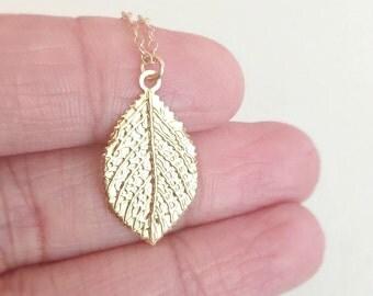 Gold Leaf Necklace, 14k Gold Filled Necklace, Leaf Charm Necklace, Gift For Her, Birthday Gift, Leaf Pendant, Shiny Gold Leaf Necklace