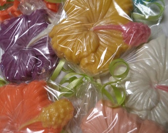 12 Hibiscus Tropical Flower Large Solid Chocolate Lollipops Luau Party Favors